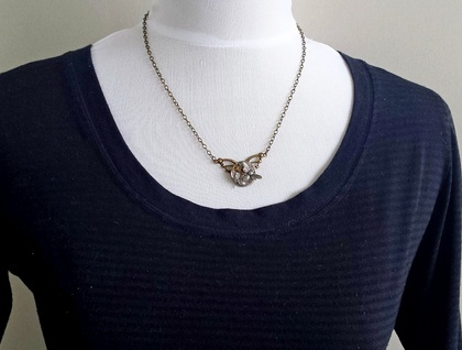 Winged & Petite - Steampunk Inspired with a bee and crystal - Silver & Brass stunner