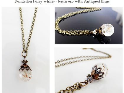 Dandelion Fairy Wishes - Resin orb with Antiqued Brass