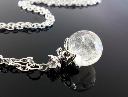 Dandelion Fairy Wishes - Resin orb with Seeds in Antiqued Silver