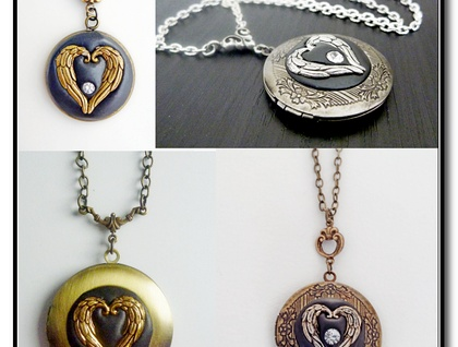 Angel Wing Heart Locket in  Antiqued Brass with Crystal - Memory Keeper