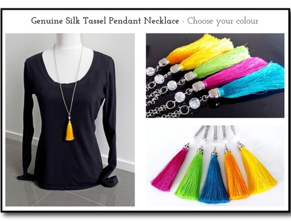 Genuine Silk Tassel Pendant Necklace with Becher Chain - Choose your colour