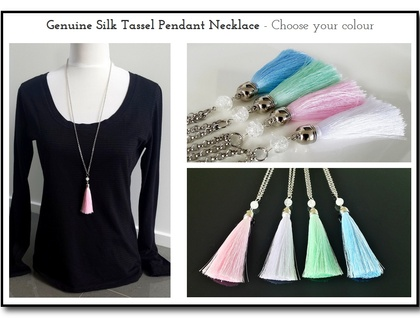 Genuine Silk Tassel Pendant Necklace - Choose your colour - Pastel