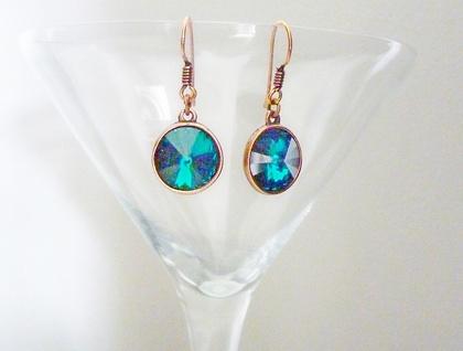 Swarovski Crystal Earrings - Emerald & Copper