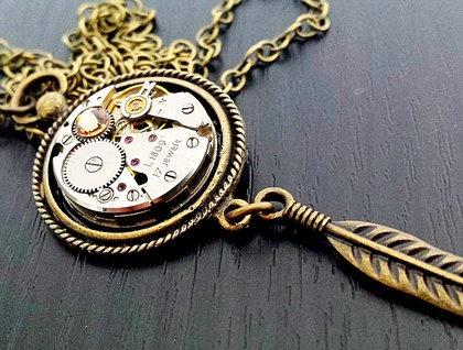 Feather & Fob - Steampunk Inspired Vintage Watch Pendant