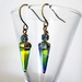 Czech Glass Spike Earrings with Antiqued Brass