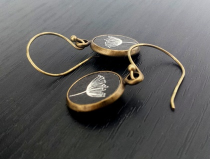 Earrings - Gorgeous printed wood inserts #3 - Set in Antiqued Brass