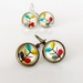 Earrings - Orla-la - Glass dome with antiqued Brass or Silver Settings, Retro Cool