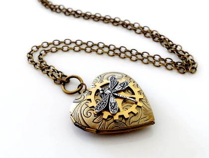 Solid Brass Heart Locket with Dragonfly - Steampunk Inspired