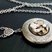 Antiqued Silver Locket with a Swarovski Crystal - Steampunk Inspired Memory Keeper