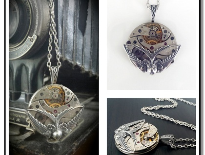 Steampunk Inspired Pendant, Vintage Pocket Watch with Swooping Swallow, Timeless Relic