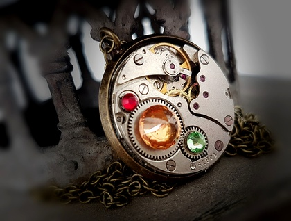 Steampunk Inspired Rainbow Pendant #3 - Vintage Watch Movement with Swarovski Crystals - Timeless Relic