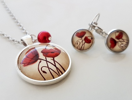 Red Poppies in Silver - ANZAC inspired Glass Dome Poppy Pendant