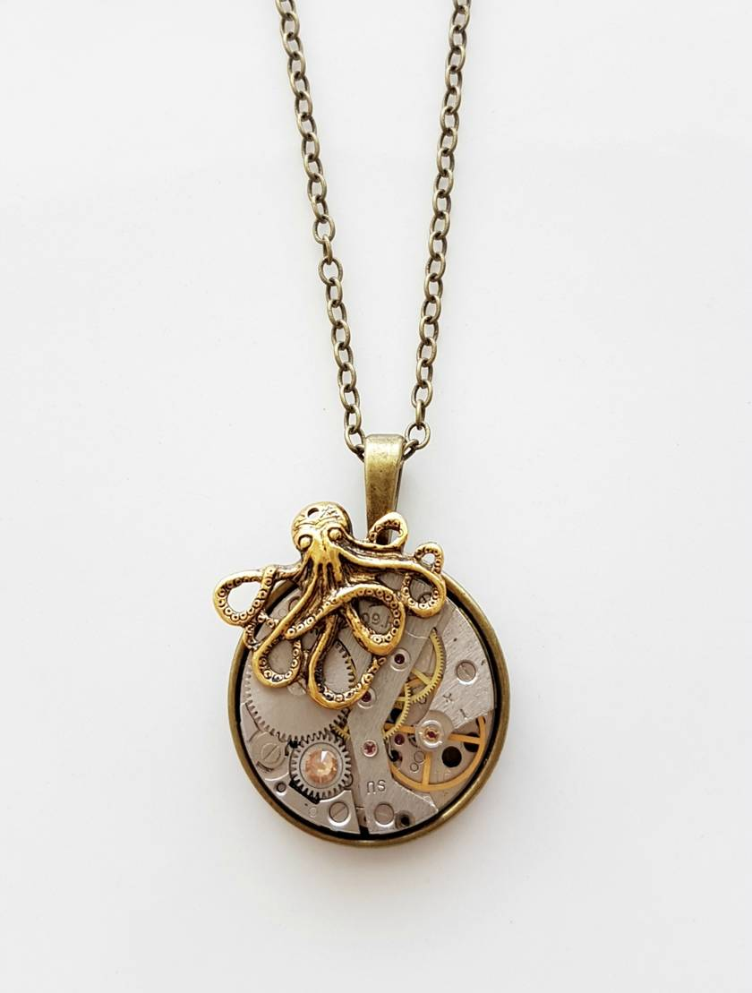 Steampunk Inspired Pendant - The Octopus Invader