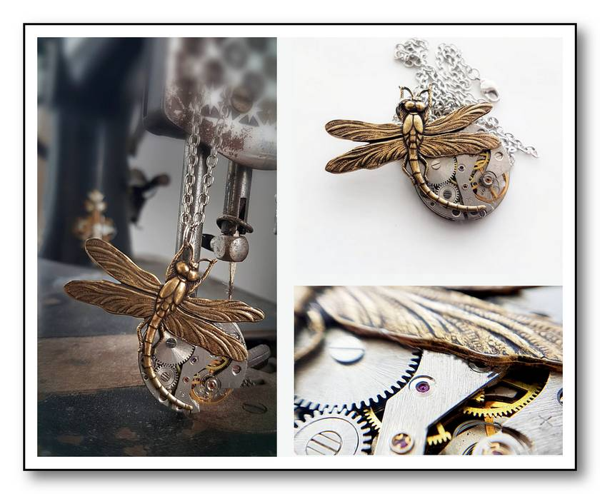 Vintage Pocket Watch with Large Curved Brass Dragonfly  - Steampunk Inspired Timeless Relic