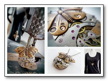 Vintage Pocket Watch Pendant - Butterfly Bliss - Steampunk Inspired Timeless Relic.