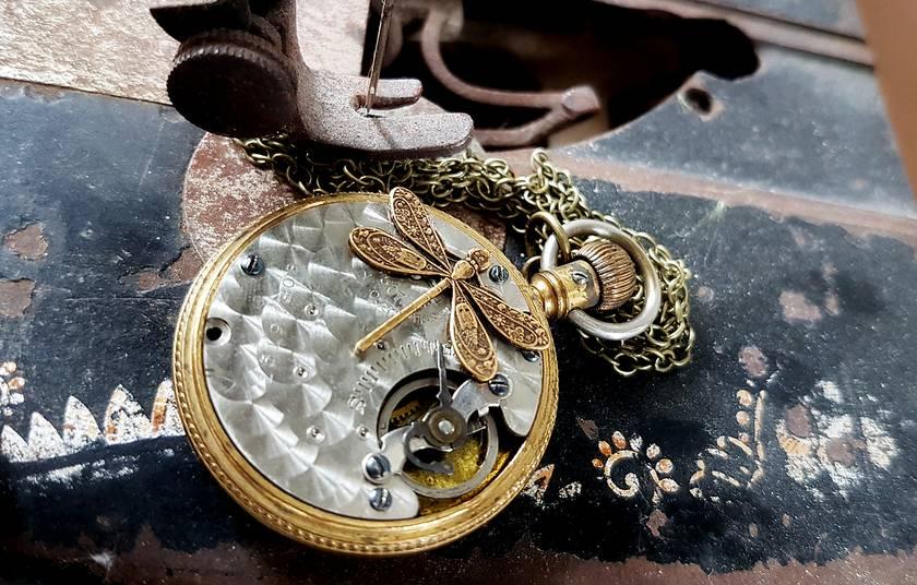 Large Brass Pocket Watch Pendant, Circa 1910-1915, Steampunk Inspired Vintage Chic.