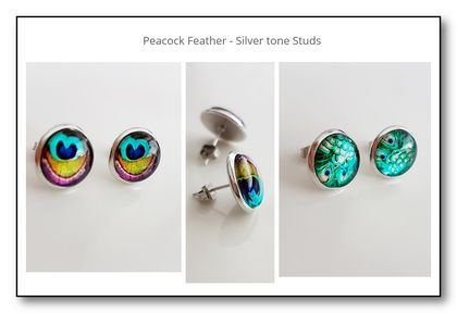 Earrings -  Peacock Feather - Silver tone Studs