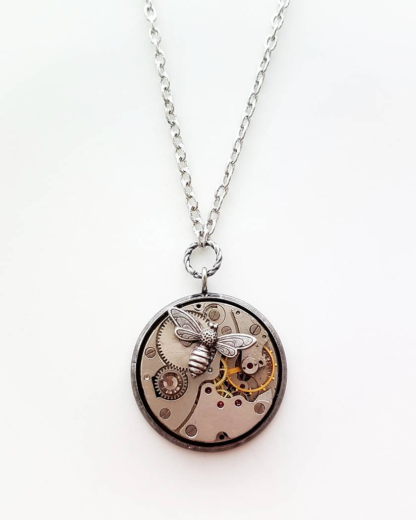 Steampunk Inspired Pendant - The Wee Bee - Timeless Relic