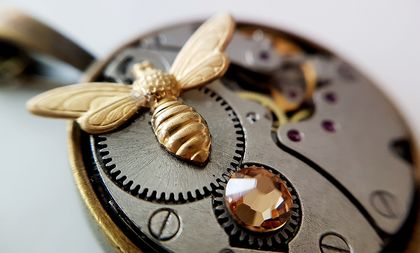 Antiqued Brass Honey Bee with a Vintage watch movement - Steampunk Inspired Timeless Relic