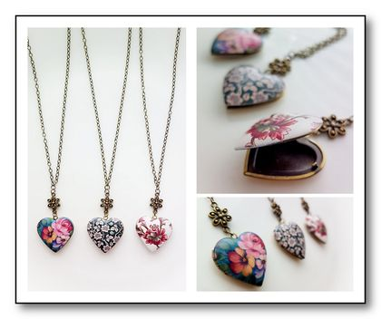 Floral Heart Locket, Choose your design - Feminine Memory Keeper in 3 beautiful options