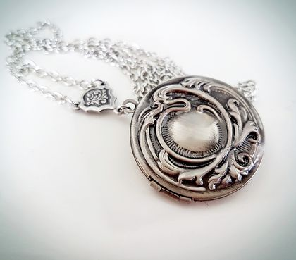 Antiqued Silver Locket with Raised Swirl detail