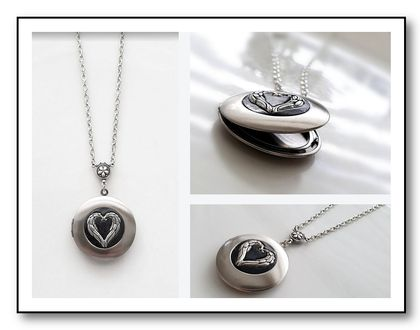 Angel Wing Locket in Polished Silver Tone - Memory Keeper