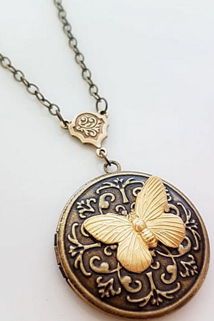 Antiqued Brass Locket with Detailed Raw Brass Butterfly