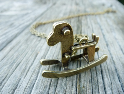 Antiqued Brass Rocking Horse Pendant
