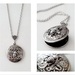 Dark Silver tone Floral Locket with a Detailed Fat Bumble Bee