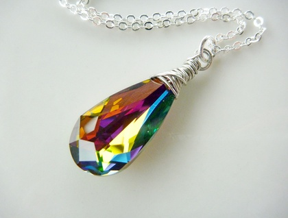 Swarovski Crystal stunner - Hand wrapped Teardrop