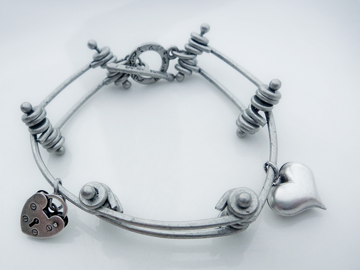 industrial chic bracelet with charms felt