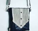 'Royal Slice' Vintage Navy Leather Crossbody Bag