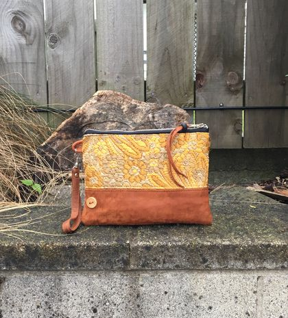 Marigold & Leather Clutch