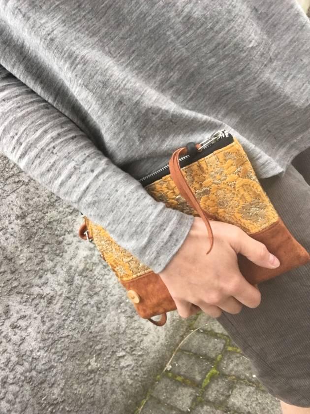 Marigold & Leather Clutch