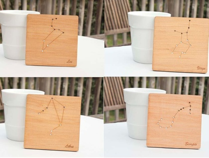 Reclaimed kauri constellation coasters