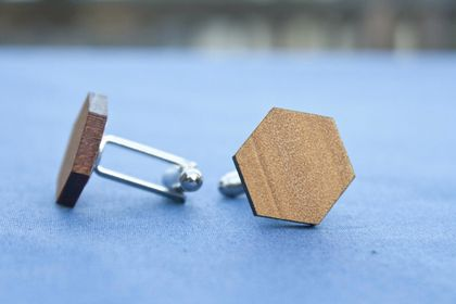 Kauri cufflinks - hexagon - reclaimed wood