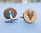 Deer stag head cufflinks - reclaimed wood