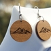 Mountain engraved recycled wood earrings
