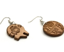 Star Wars themed recycled wood earrings