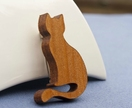 Reclaimed kauri cat brooch