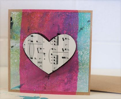 """Pink tissue heart"" hand made gift card"