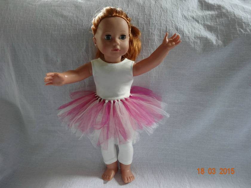 9593aa65b3f09 Doll's Pink & White Tulle Tutu, Top and Leggings Outfit   Felt