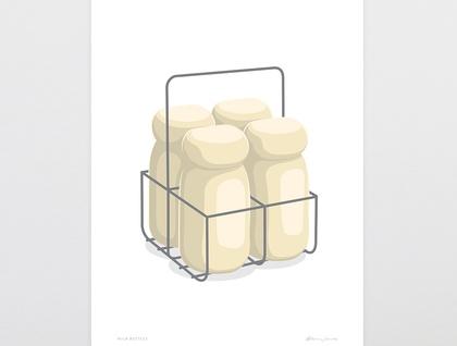 Milk Bottles Art Print