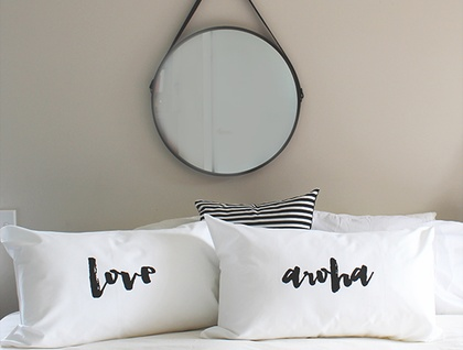Love x Aroha Handprinted pillowcases