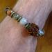 Mens bracelet -  Picasso jasper and Rudraksha seed