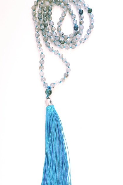 Labradorite 108 bead hand knotted mala - bracelet or necklace with long tassel