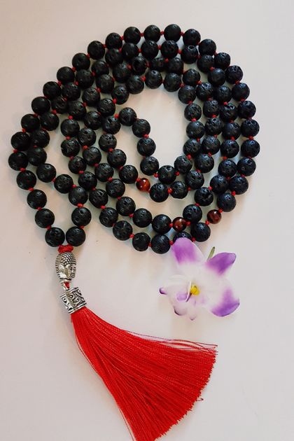 Volcanic lave rock (basalt) 108 hand knotted mala with buddha head tassel