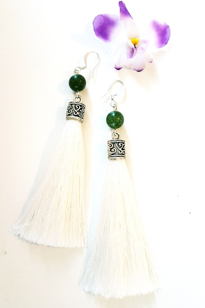 White tassel custom earrings with nephrite jade
