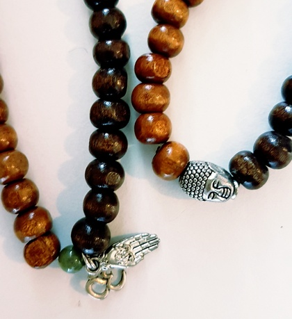 Rustic wooden 108 bead mala - bracelet or necklace