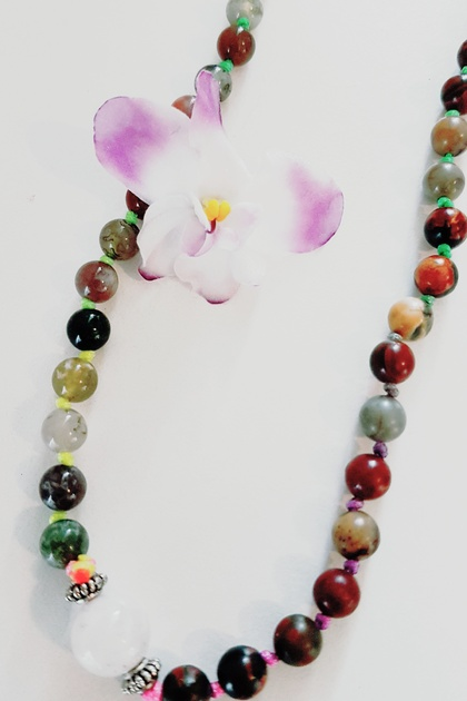 Jasper and agate 108 hand knotted mala